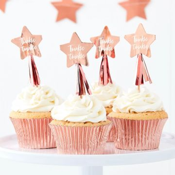 "Rose Gold ""Twinkle Twinkle"" Cupcake Toppers"